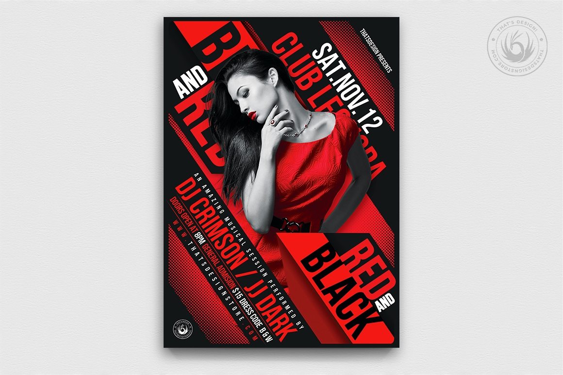 Black Red Party Flyer Template V1 Posters Design For Photoshop