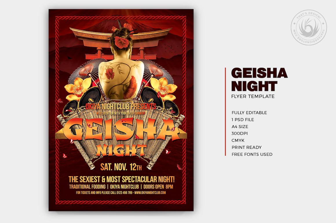 geisha night flyer template thats design store
