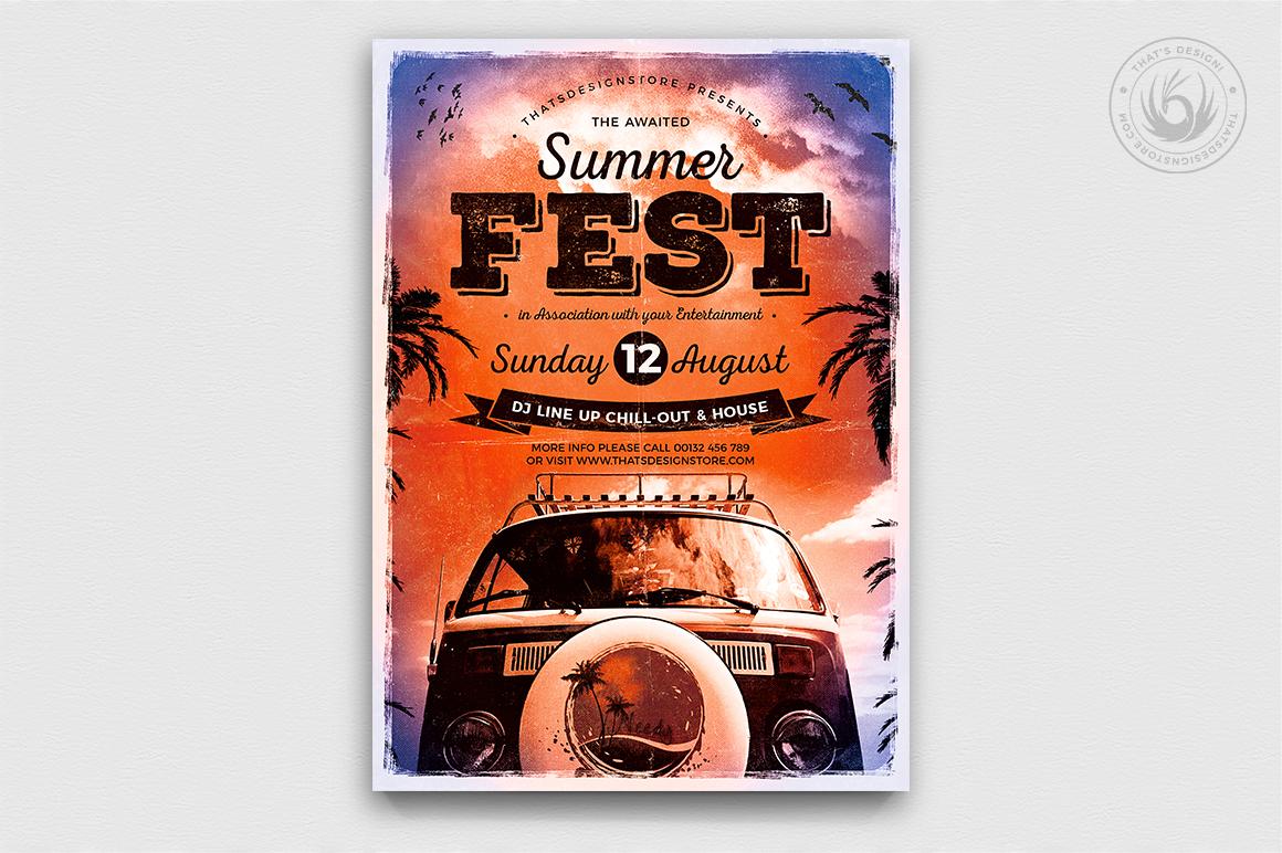 Beach Party flyer psd templates, Summer Fest Poster Template