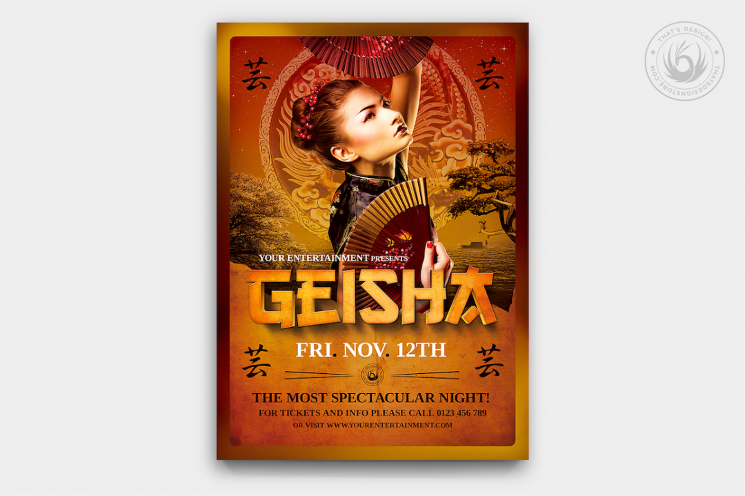 Geisha Party Flyer Template psd V.3