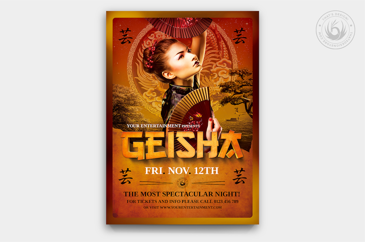 Geisha night flyer template v3 thats design store geisha party flyer template psd v3 maxwellsz