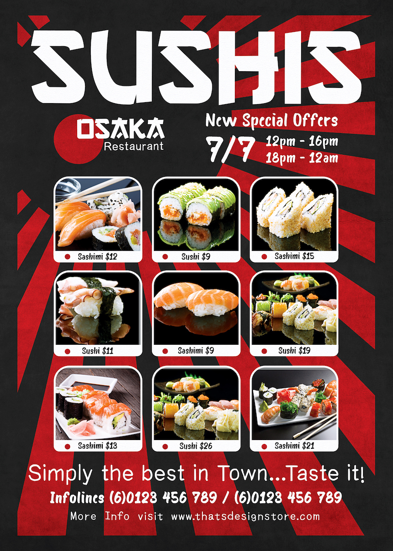 Sushi Delivery Flyer Template | TDS Psd Flyer Templates
