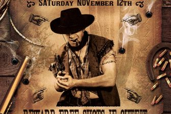 Wanted Western Party Flyer Template, Wanted flyers farwest Western music template, rodeo bike cowboy in a coyote bar