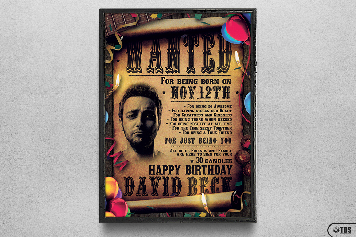 Wanted Birthday Party Flyer Template Psd Design For Photoshop