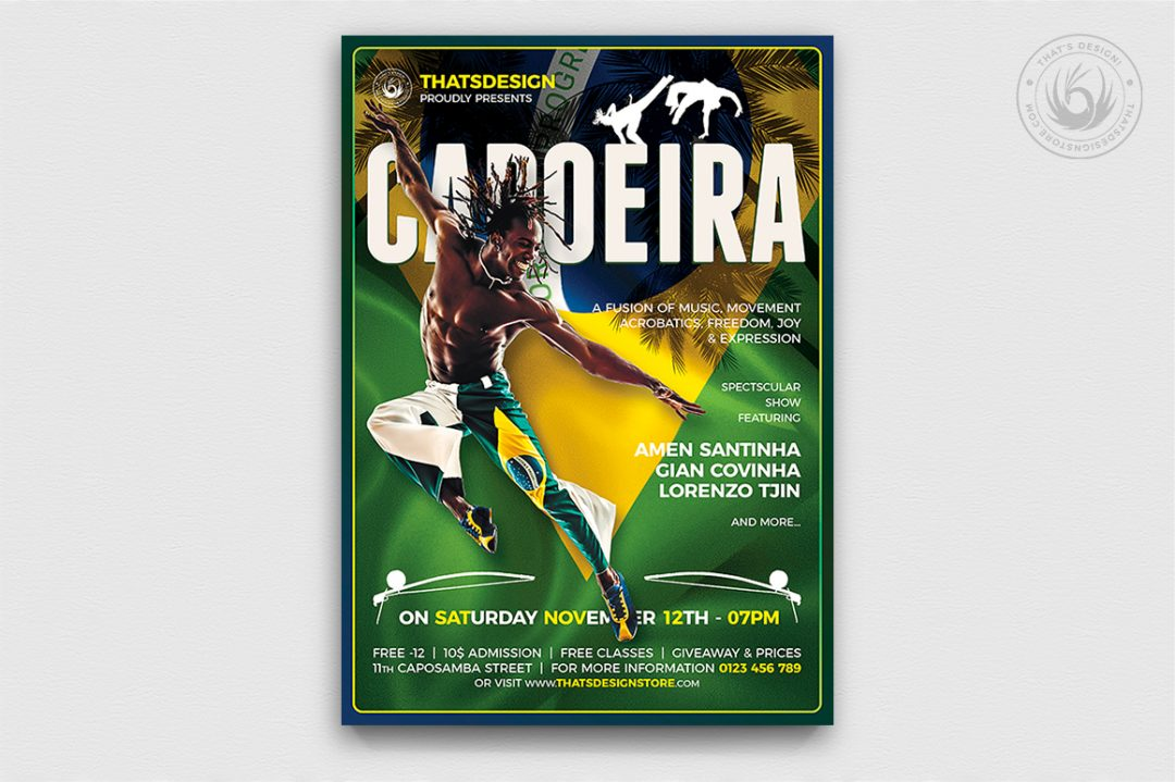 Capoeira Flyer Template PSD design for Photoshop