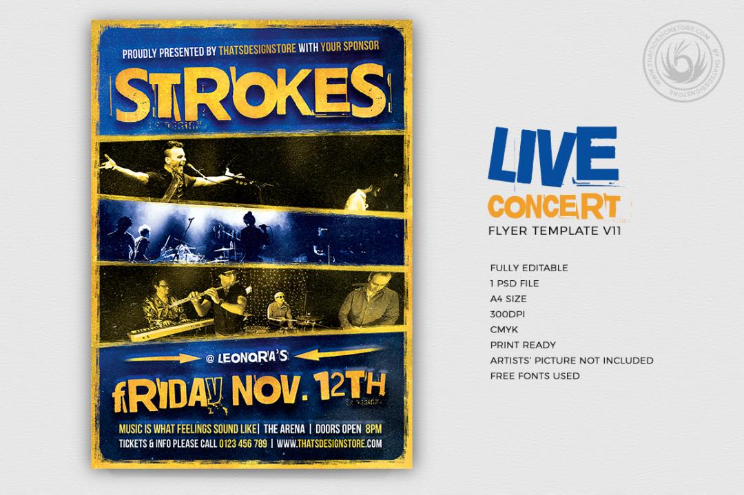 Live Concert Flyer Template psd V11