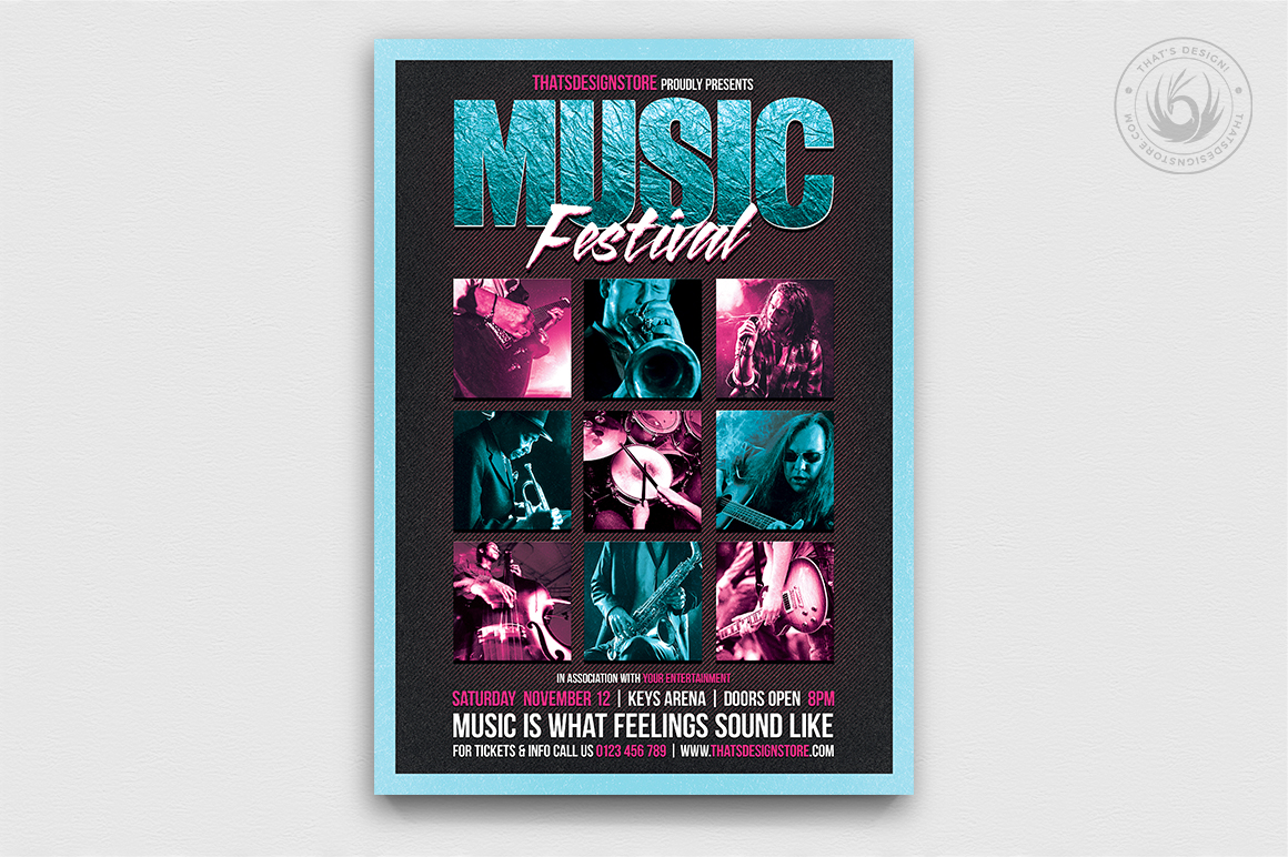 music festival flyer psd template for photoshop