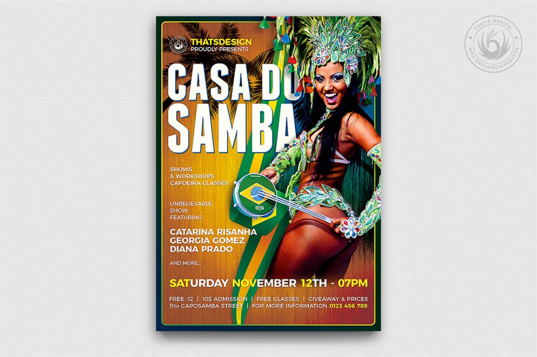 Samba flyer template psd for carnival brazil, shows, workshops, capoeira classes