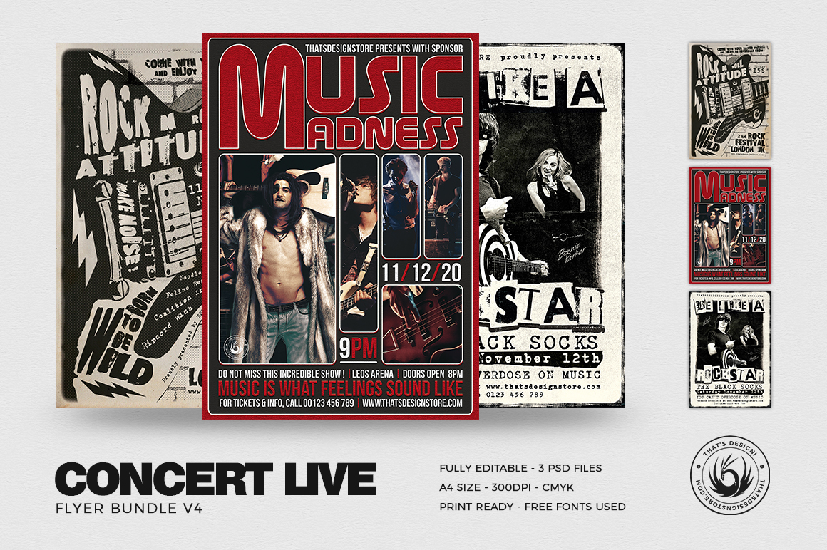 Concert Live Flyer Templates PSD Download Bundle V4