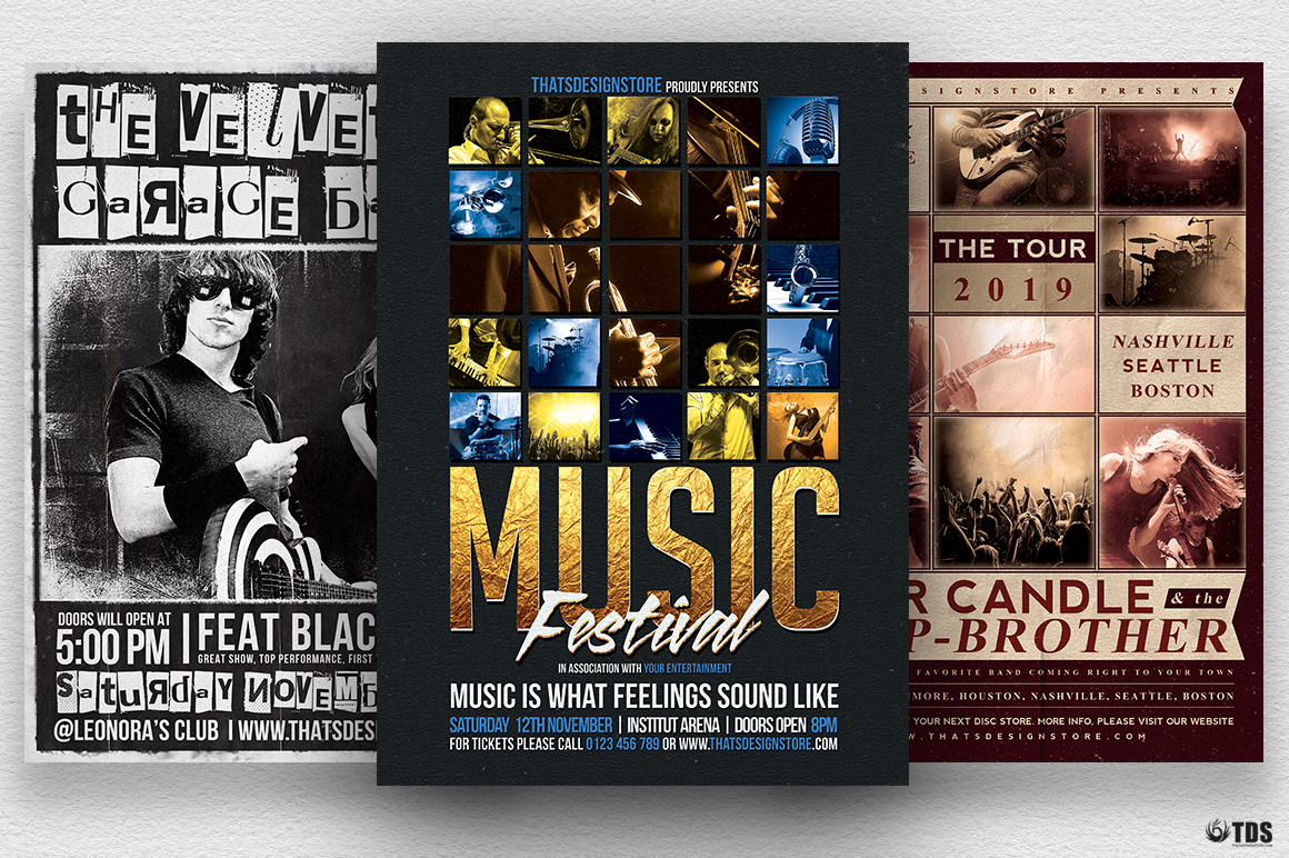 3 flyers psd live band flyer templates v2