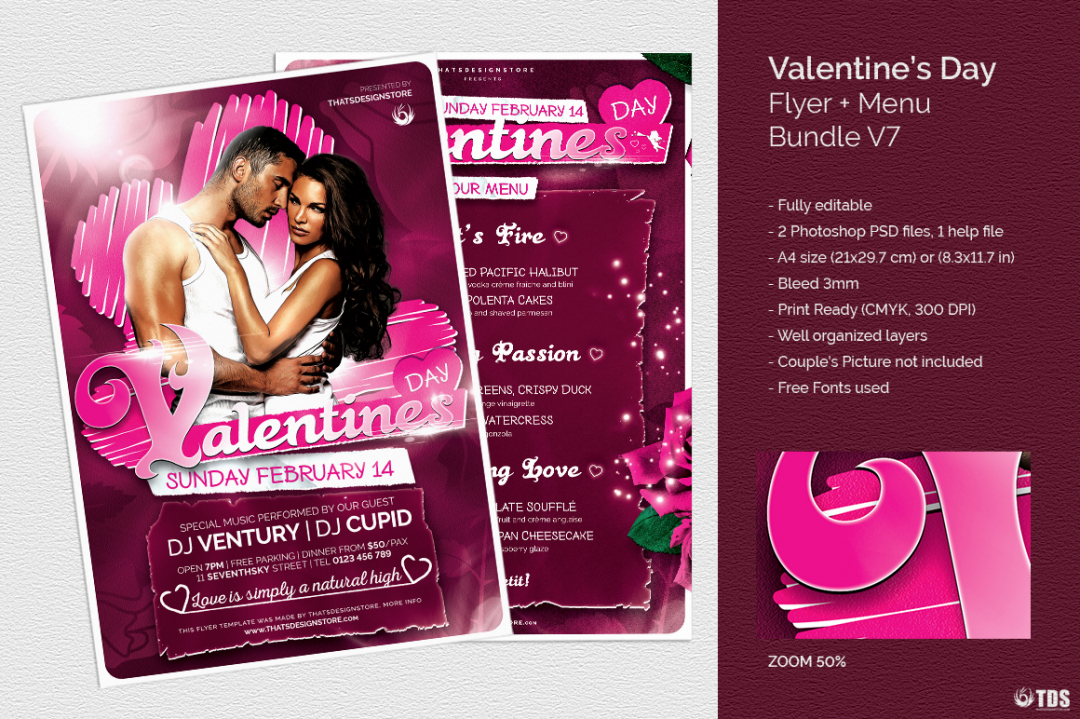 Valentine's Day Flyer + Menu V7 love Psd download to customize with photoshop