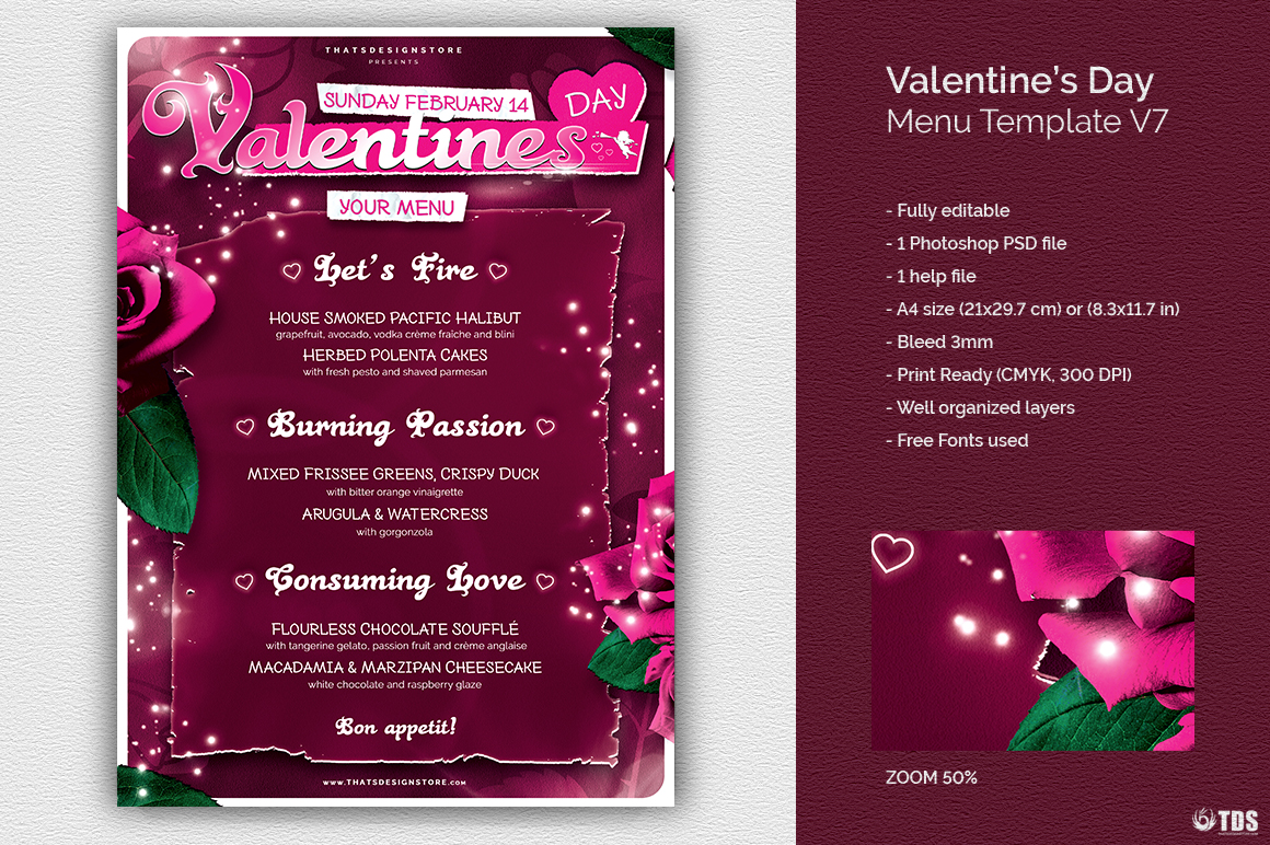 Valentines Day Menu Template V7 love Psd download to customize with photoshop