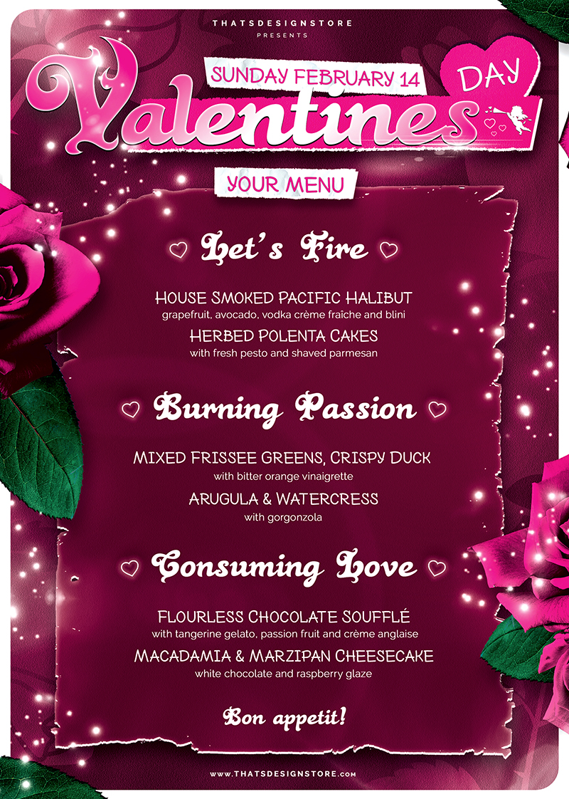 Valentines Day Menu Template V7