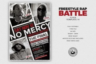 Freestyle Rap Battle Flyer V1, Hip hop Flyer Psd Templates