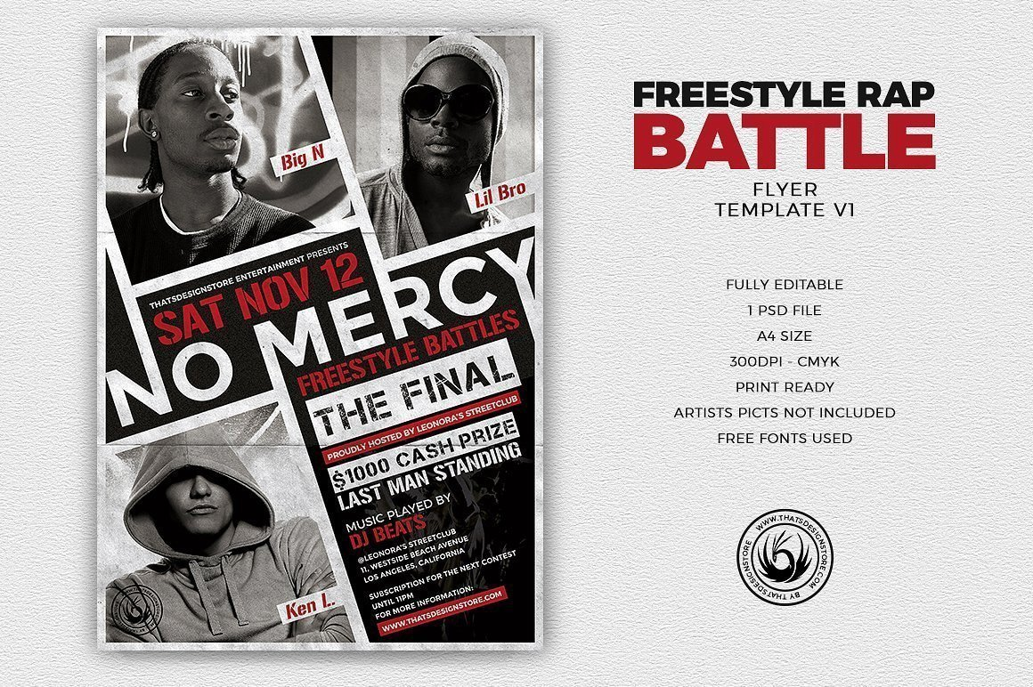 Freestyle Rap Battle Flyer Template | Free posters design for photoshop