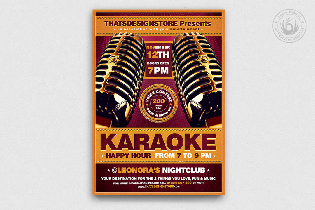 Karaoke Flyer Template PSD Download V2
