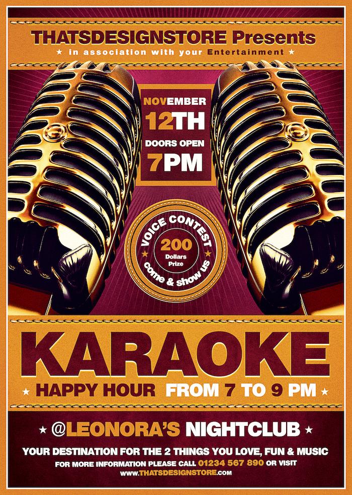 Karaoke Flyer Template PSD Download V2