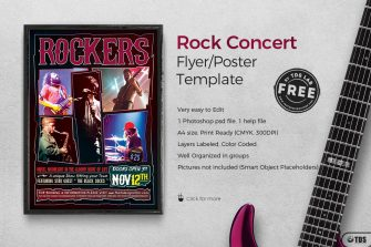 Rock Concert flyer template, Download live band freebies for free
