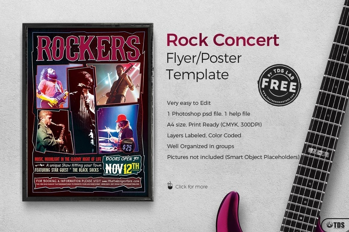rock concert flyer free template