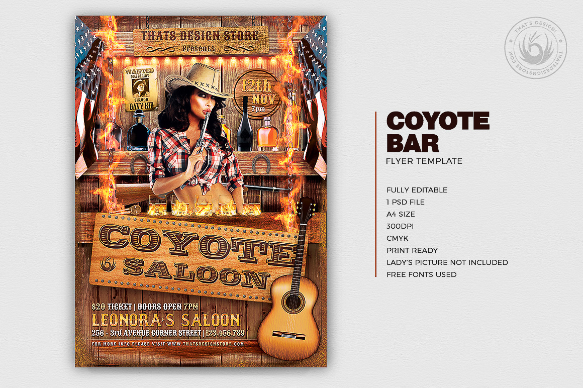 Coyote Bar Flyer Template psd