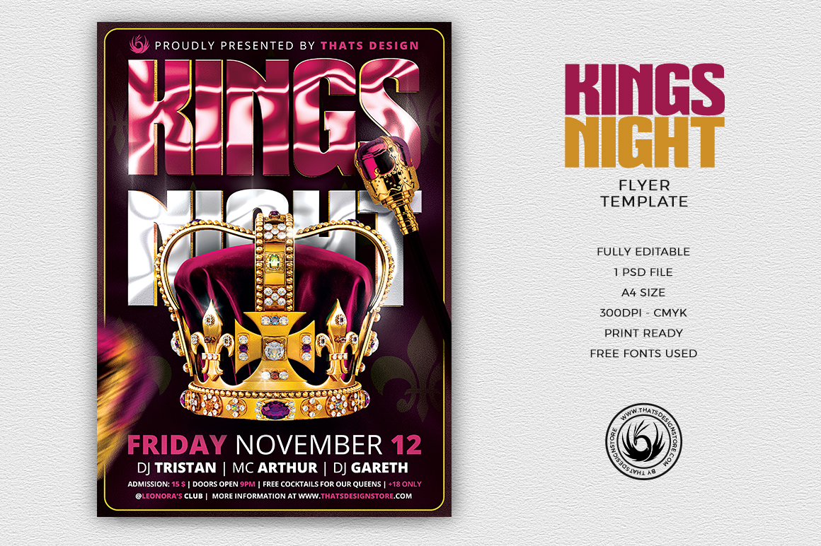 kings night flyer template thats design store
