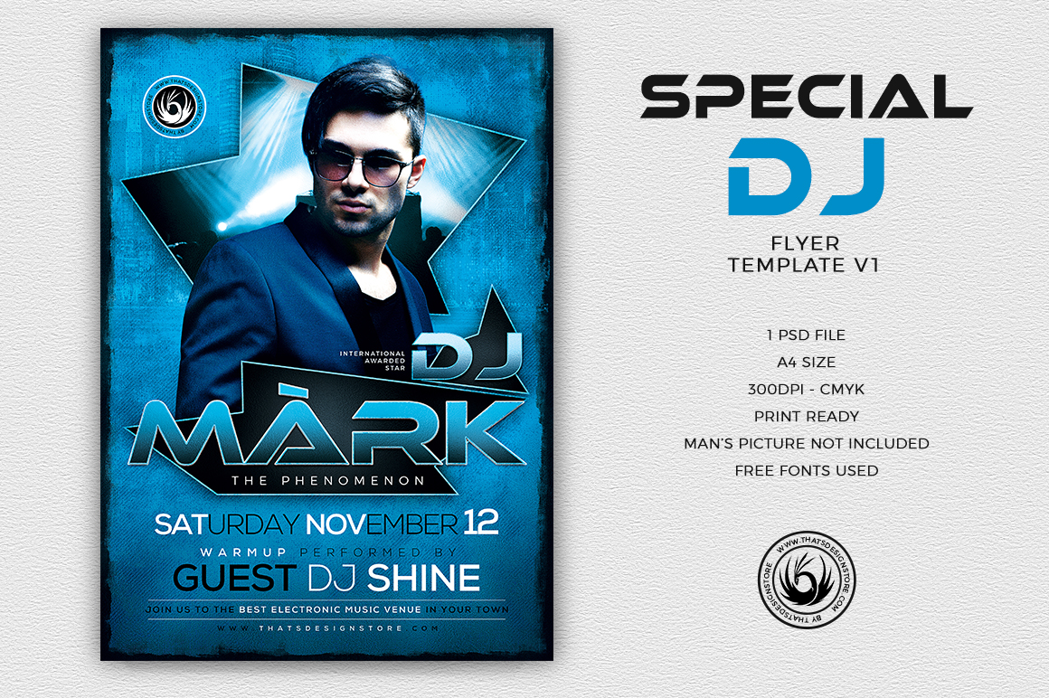 Club Dj Flyer Psd Template to customize with Photoshop
