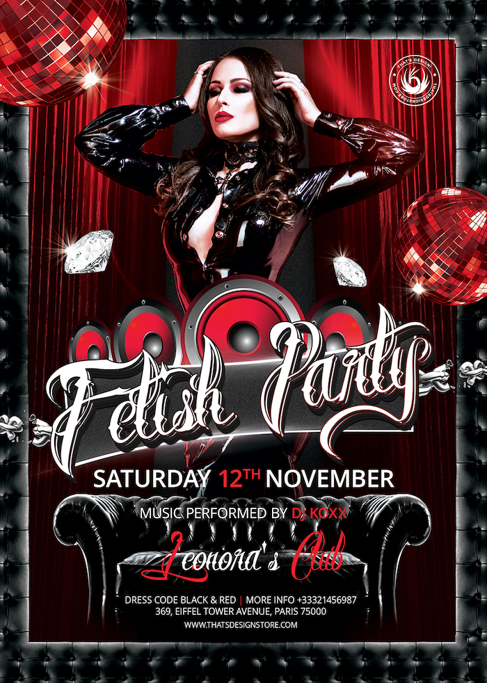 Fetish Party Flyer Template PSD download, club flyers posters design, Red and black