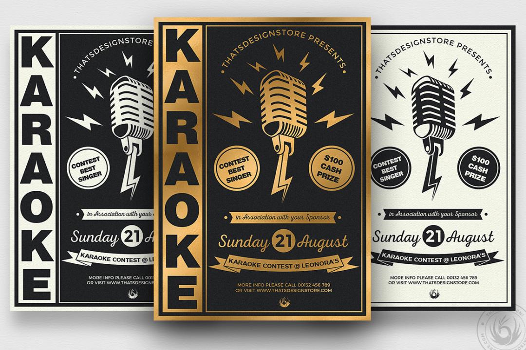Karaoke Night Party PSD flyer templates, room, bar, contest, Open mic