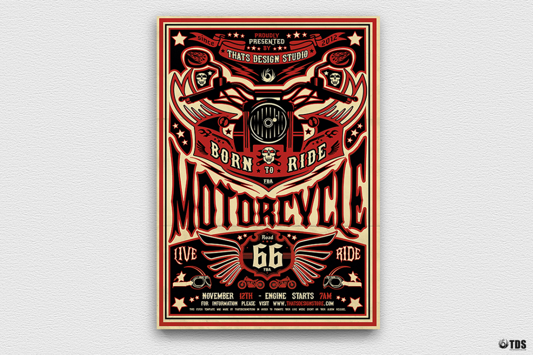 Motorcycle Road Trip Flyer Template Psd V2