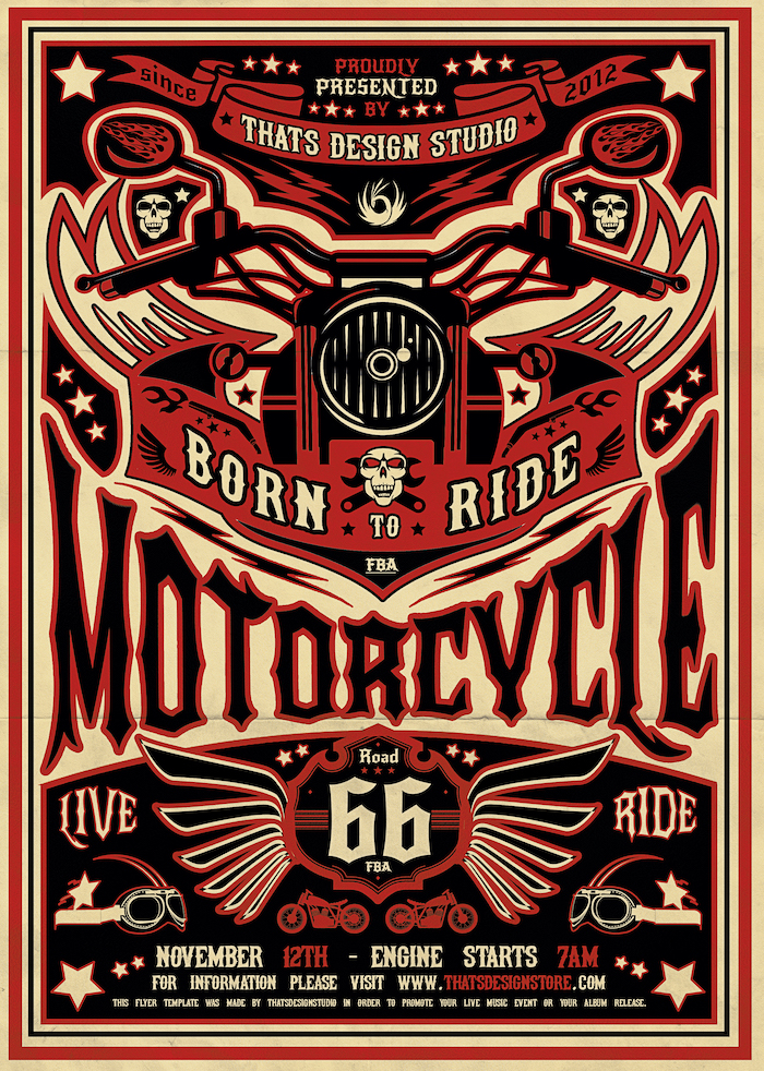 Motorcycle Road Trip Flyer Template Psd, Bike night poster design