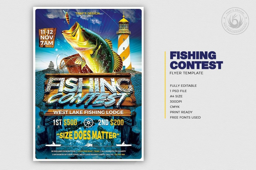 Fishing Contest Flyer Template psd