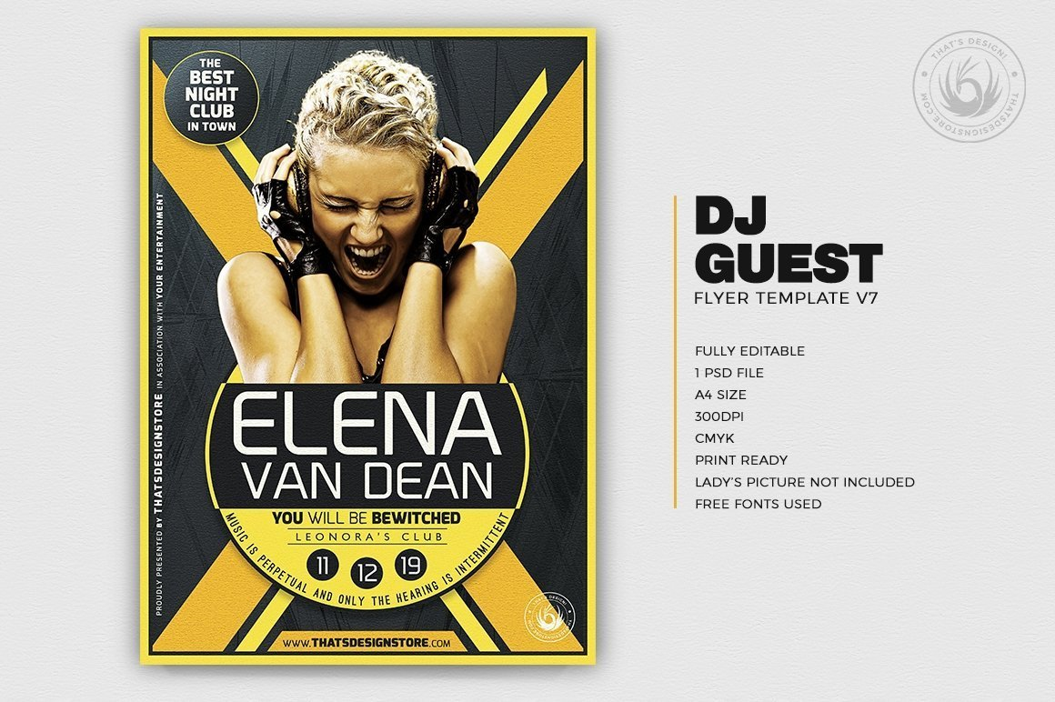 DJ Guest Flyer Template PSD Download to customize V7