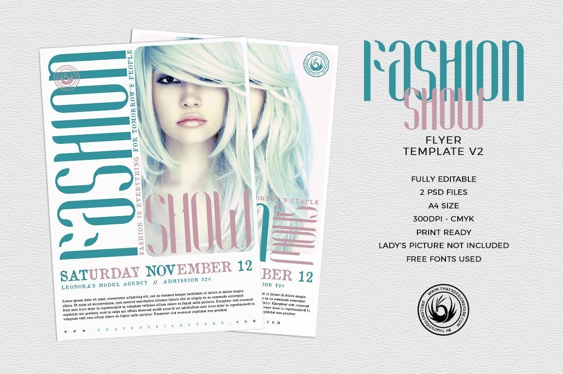 fashion show flyer template v2 thats design store. Black Bedroom Furniture Sets. Home Design Ideas