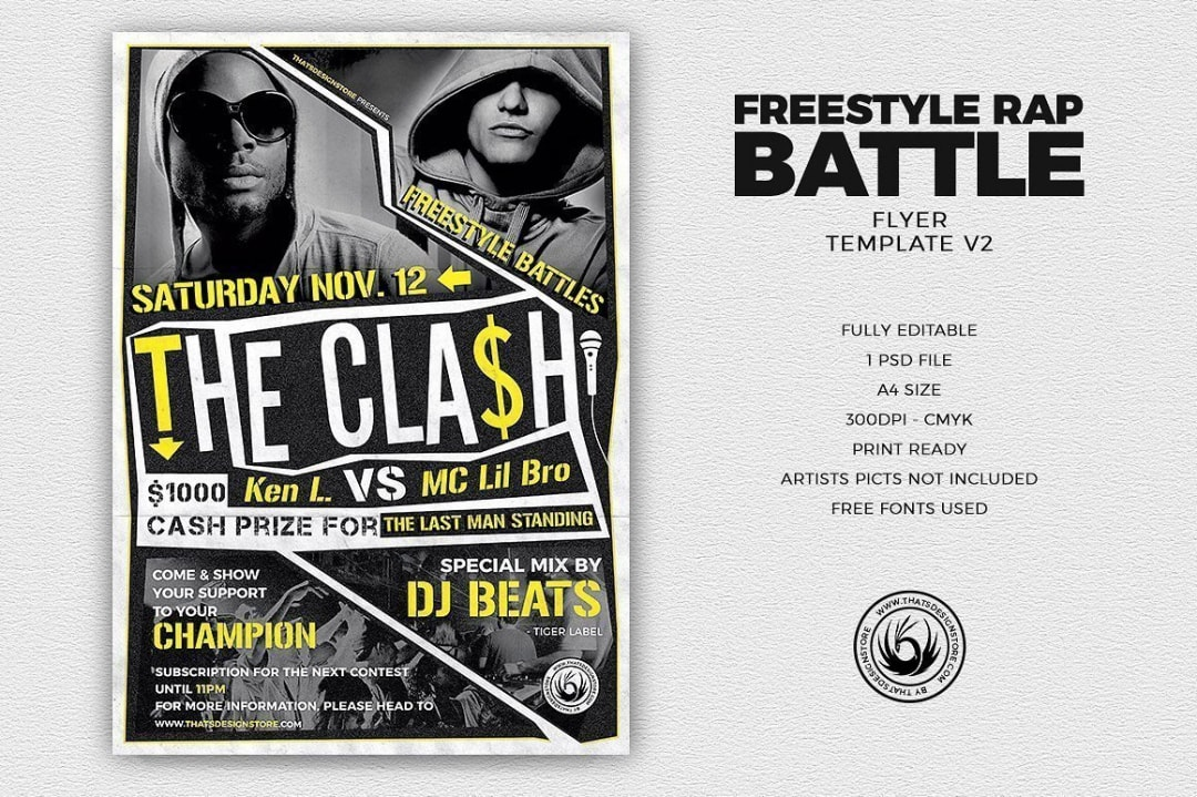 Freestyle Rap Battle Flyer V2, Hip hop psd flyers