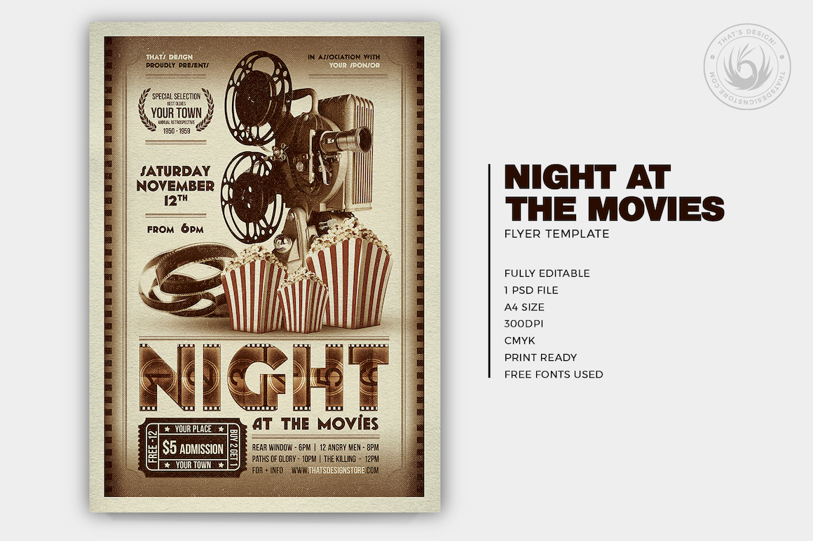 Night at the Movies Flyer Template | Thats Design! Store