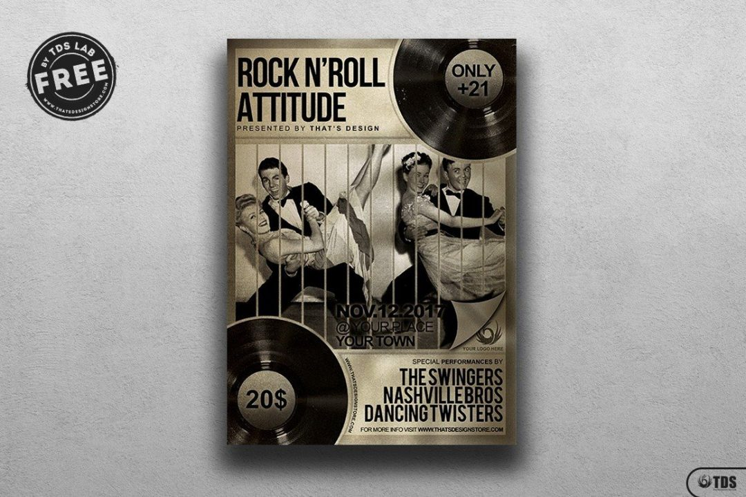 Music Live Concert psd flyer template to customize, Download live band freebies for free