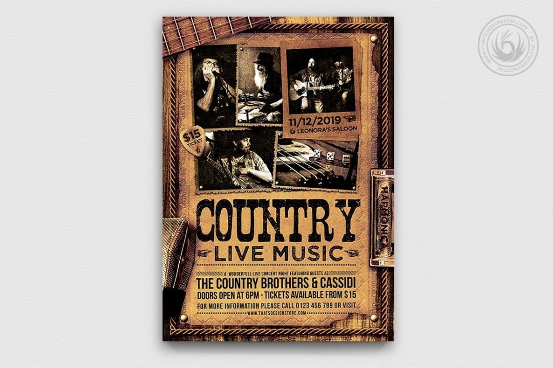 Country Live Flyer Template psd V3, Wanted flyers farwest Western template, rodeo bike cowboy in a coyote bar