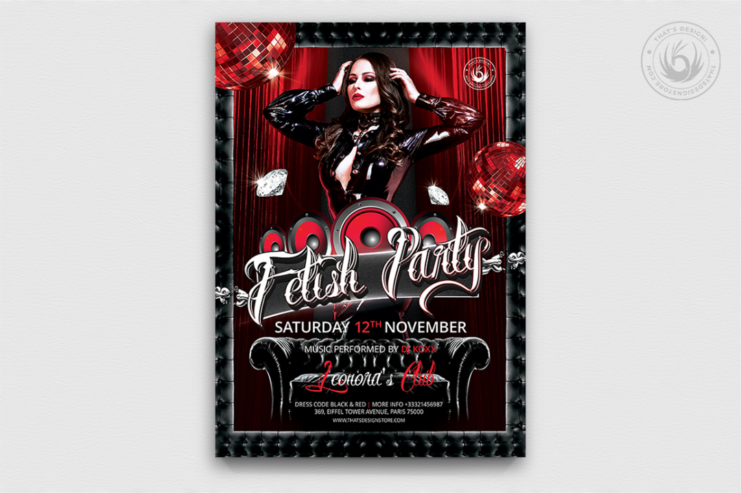 Fetish Party Flyer Template PSD download