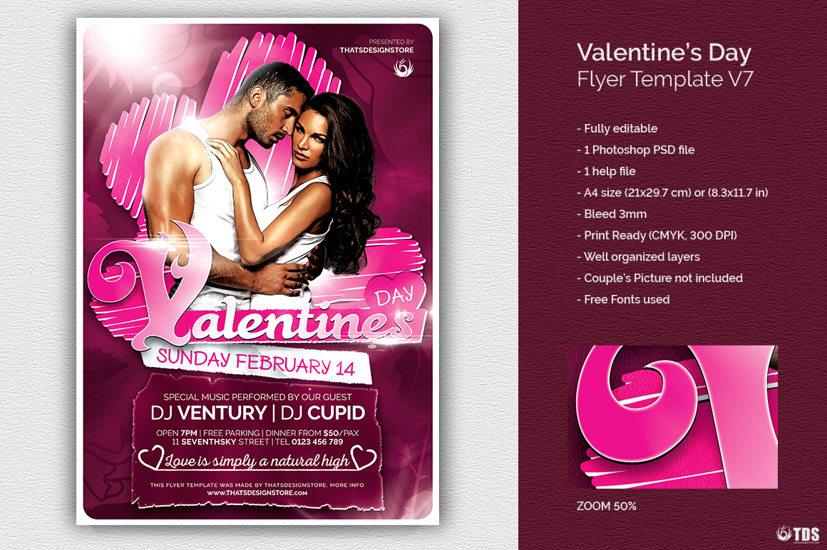 Valentine's Day Flyer Template V7 love Psd download to customize with photoshop