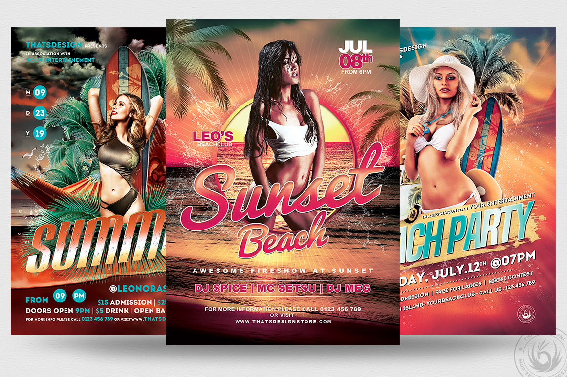 beach party flyers psd templates bundle for photoshop
