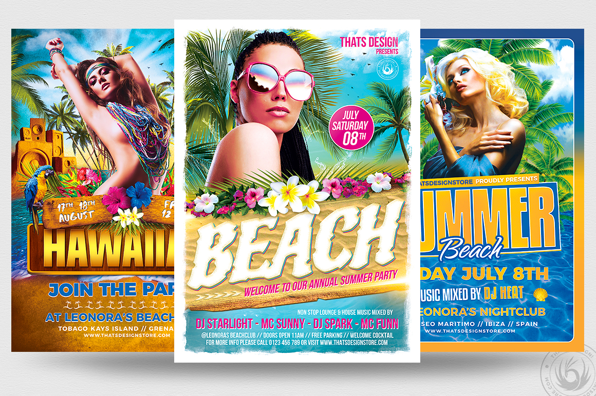 beach party flyer templates design for photoshop v2
