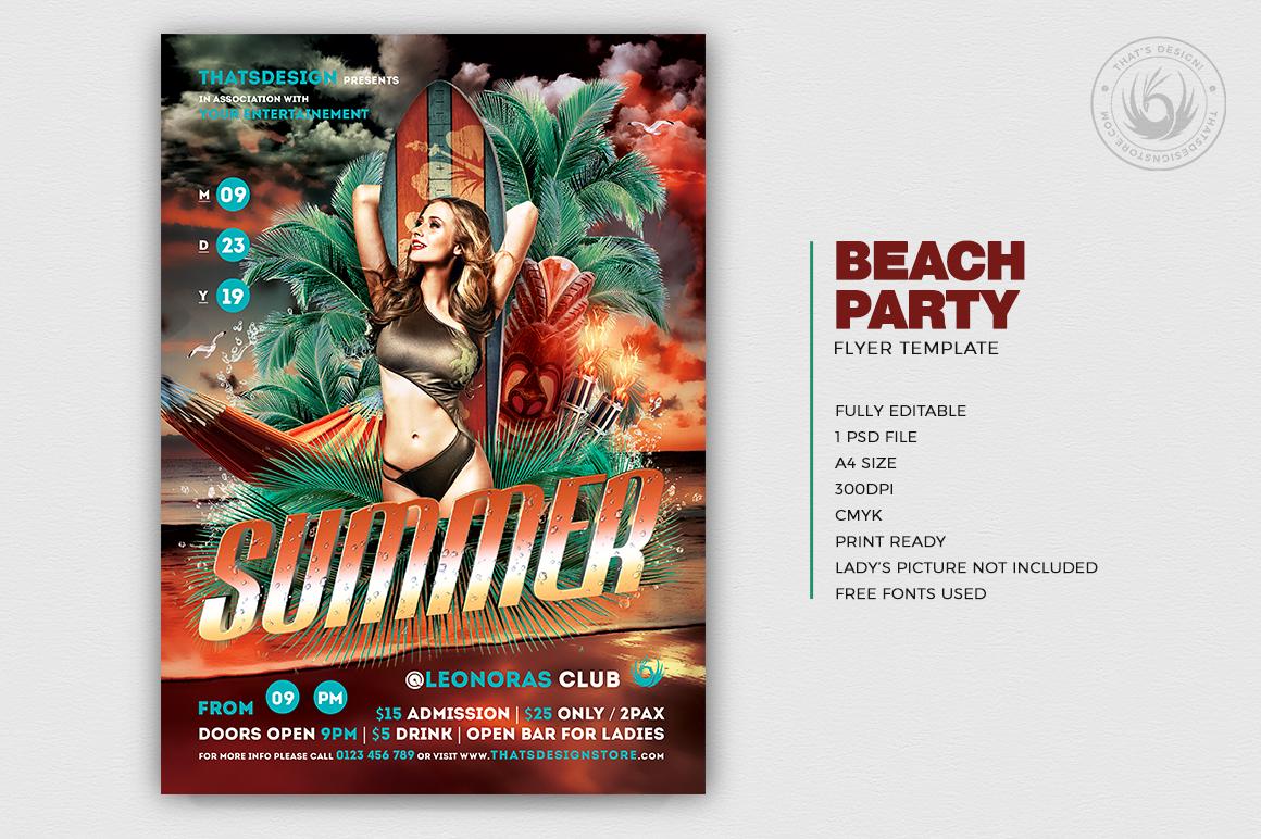 beach flyer template design psd for photoshop v 2
