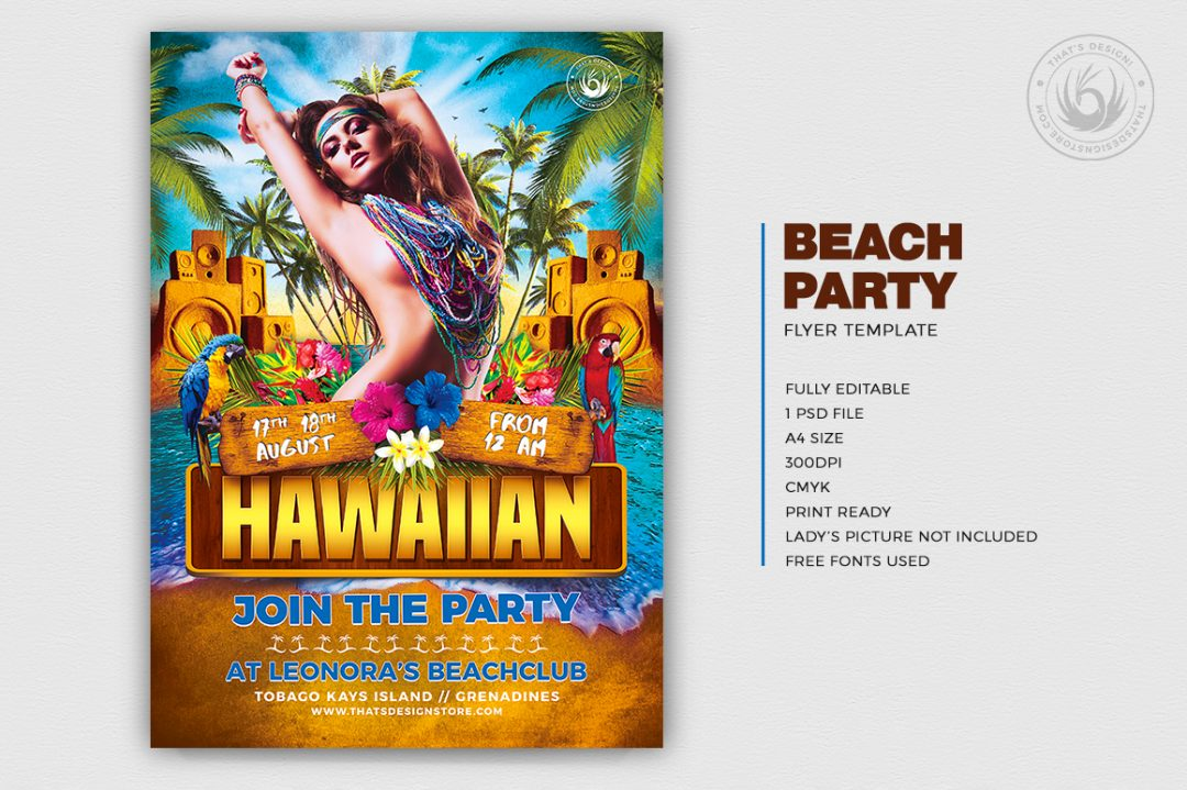 Beach Party Flyer Template for photoshop for any beach party,festival, club or cocktails bar event. Pool or garden party with Dj set mixing chillout, lounge music for a tropical sunset, summer camp holidays