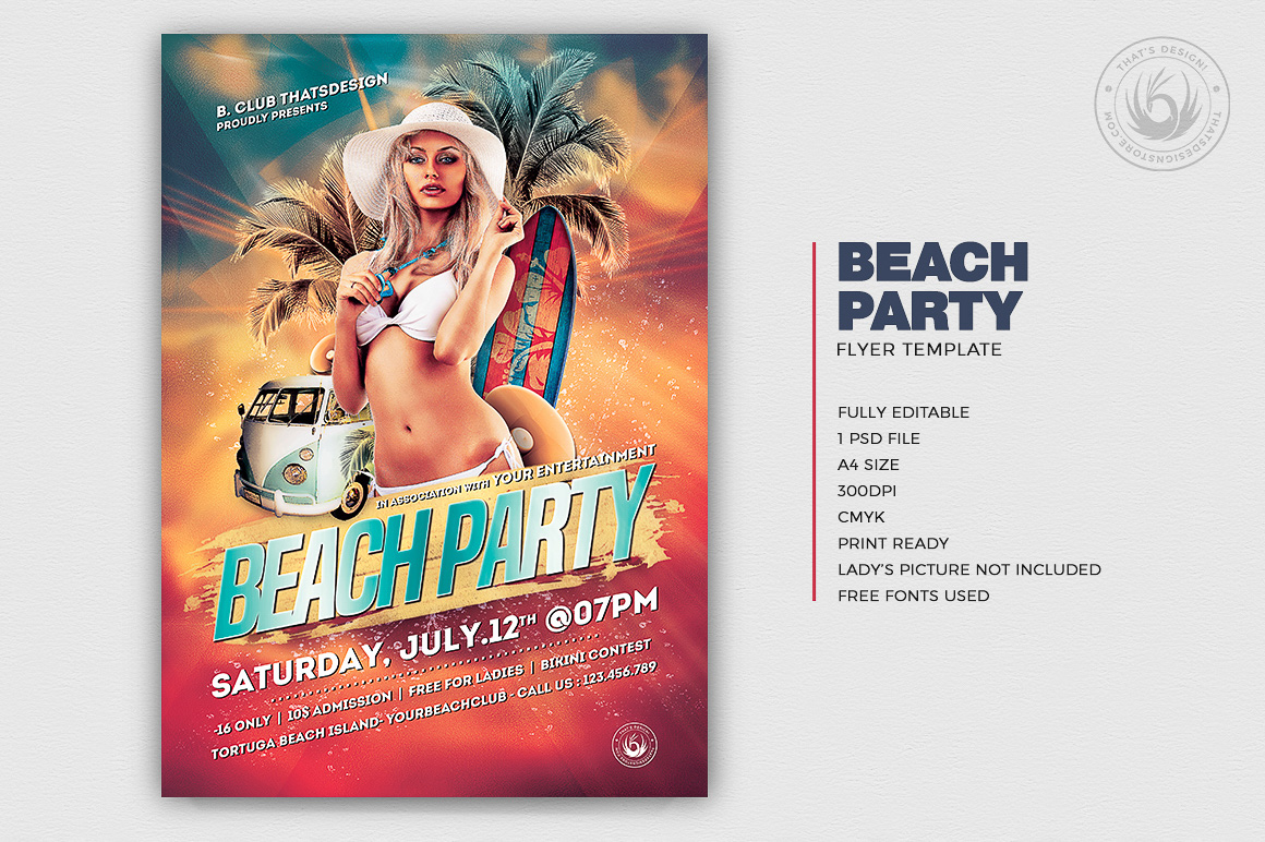 Beach Party Flyers Template Psd V1, summer poster