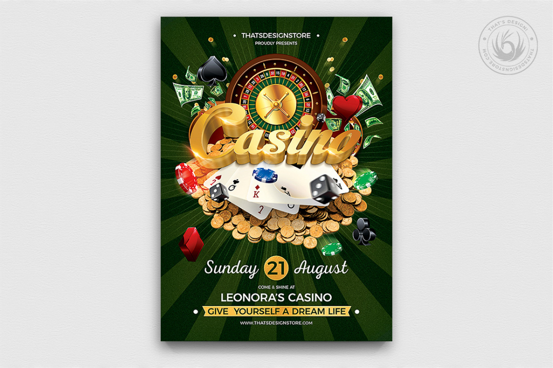 Vegas Casino Flyer Template psd fo photoshop