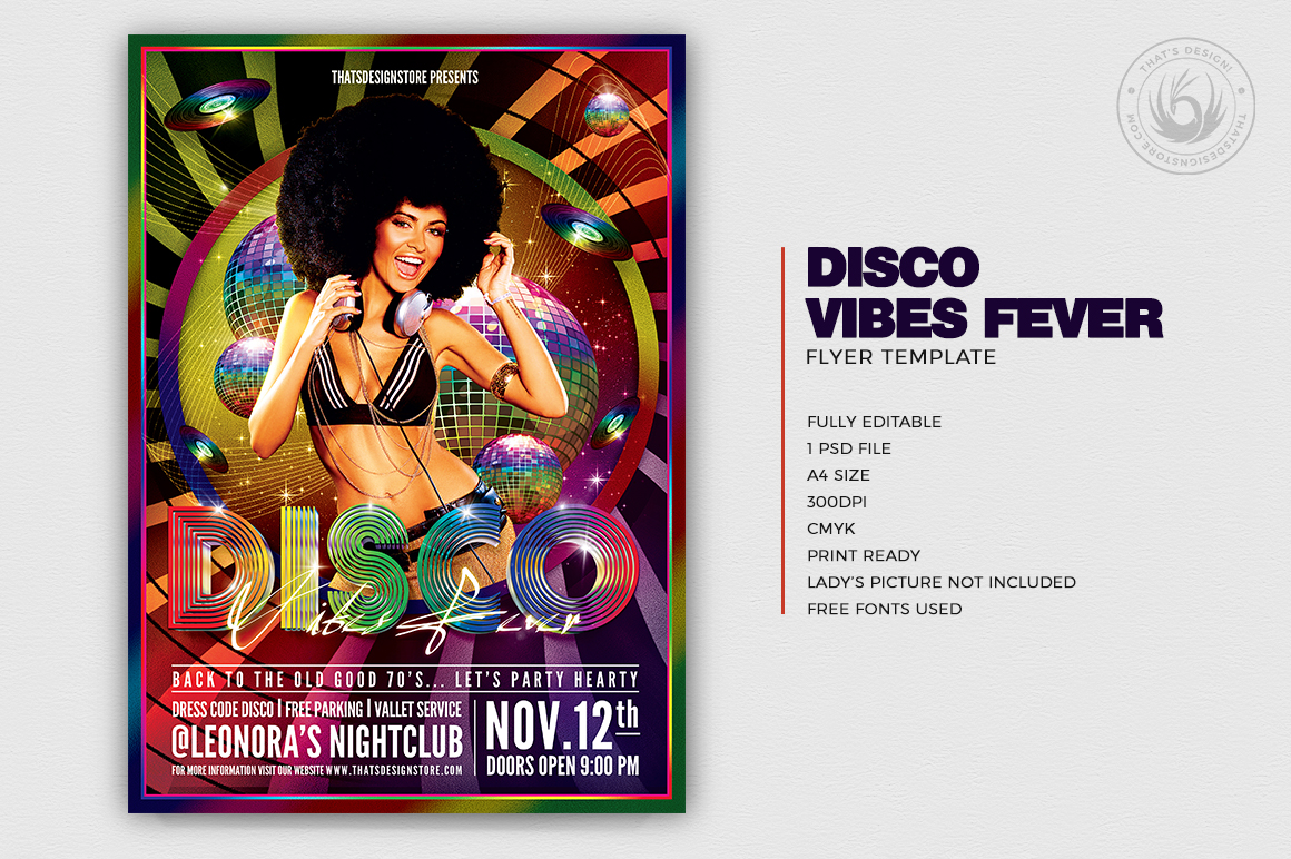 Check out thisDisco Flyer Template. Perfect for any Remember, Disco, 70's, 80's, 90's and Revival party and a Neon, Fluo night or even a flashback Dj set