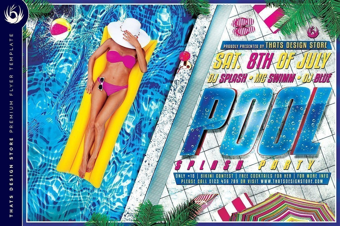 Pool Party Flyer Template | Thats Design! Store