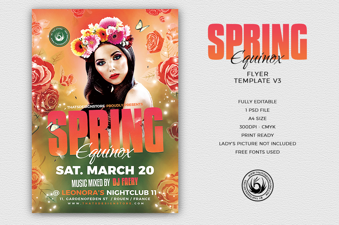 Spring Equinox Flyer Template V3 | Free posters design for photoshop