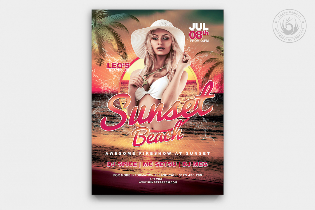 Beach Party Invitations Flyer PSD Template V3 for any festival, club or cocktails bar event in a Pool. Dj set mixing chillout, lounge music for a tropical sunset, summer camp holidays