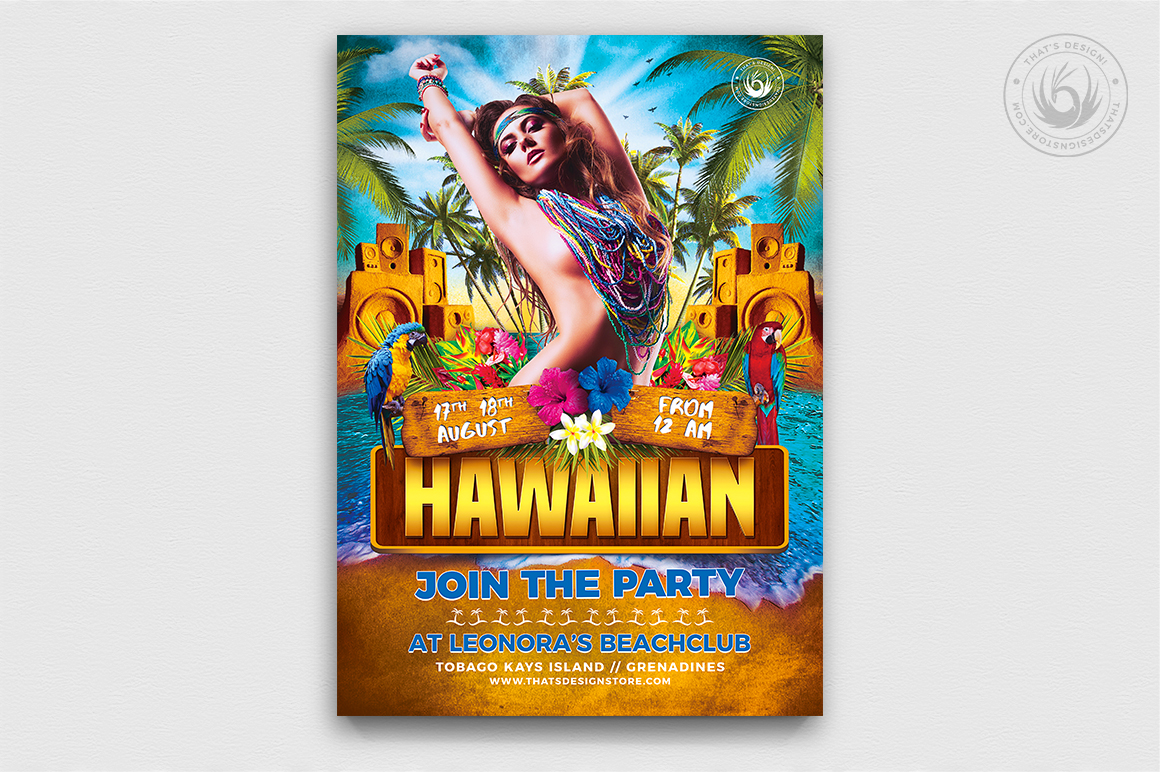 Beach Party Flyer Template for photoshop
